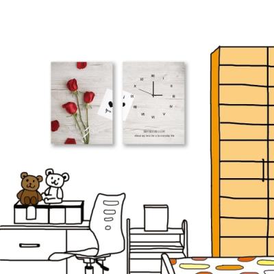 24mama掛畫-二聯式 紅色花卉 玫瑰 時鐘掛畫 無框畫 30X40cm-日常