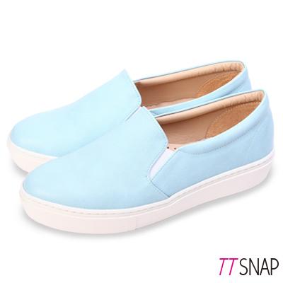 TTSNAP厚底樂福鞋-MIT微尖頭修長真皮休閒鞋 藍