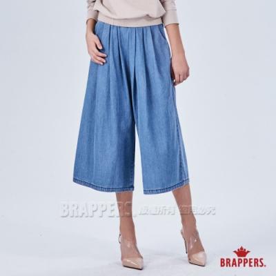 BRAPPERS 女款 Boy friend系列-鬆緊帶八分寬版褲-藍