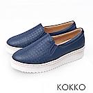 KOKKO -繽紛年華雕花麻繩真皮休閒鞋-靜謐藍