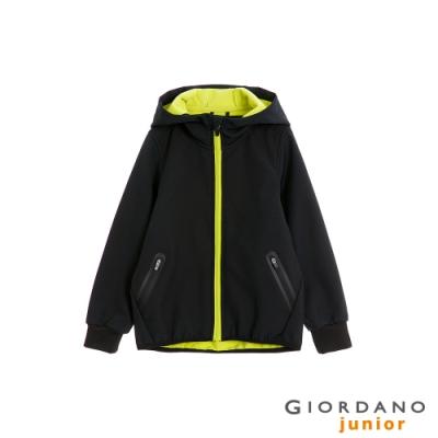 GIORDANO 童裝G-MOTION輕量撞色防風保暖連帽外套-99 標誌黑
