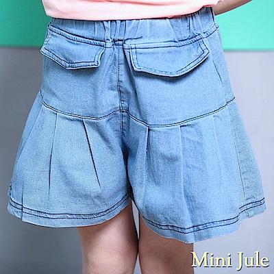 Mini Jule 褲裙 百褶壓縫假口袋鬆緊牛仔短褲(淺藍)