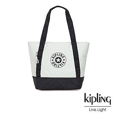 Kipling 渡假海灘風黑白撞色復古休閒LOGO肩背托特包-SIDRA