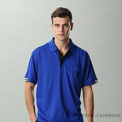 ROBERTA諾貝達 台灣製 吸濕排汗 彈性修身短袖POLO棉衫 藍色