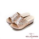 CUMAR情迷哈瓦那 -雷射花朵鑽飾厚底涼拖鞋-粉金