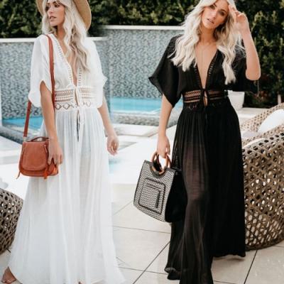 La Belleza渡假波西米亞風蕾絲滾邊腰部鏤空刻花綁帶棉麻長版罩衫