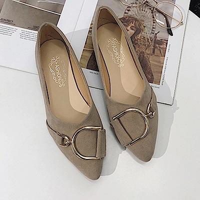 KEITH-WILL時尚鞋館 歐洲款嬌豔航線平底鞋-卡其色