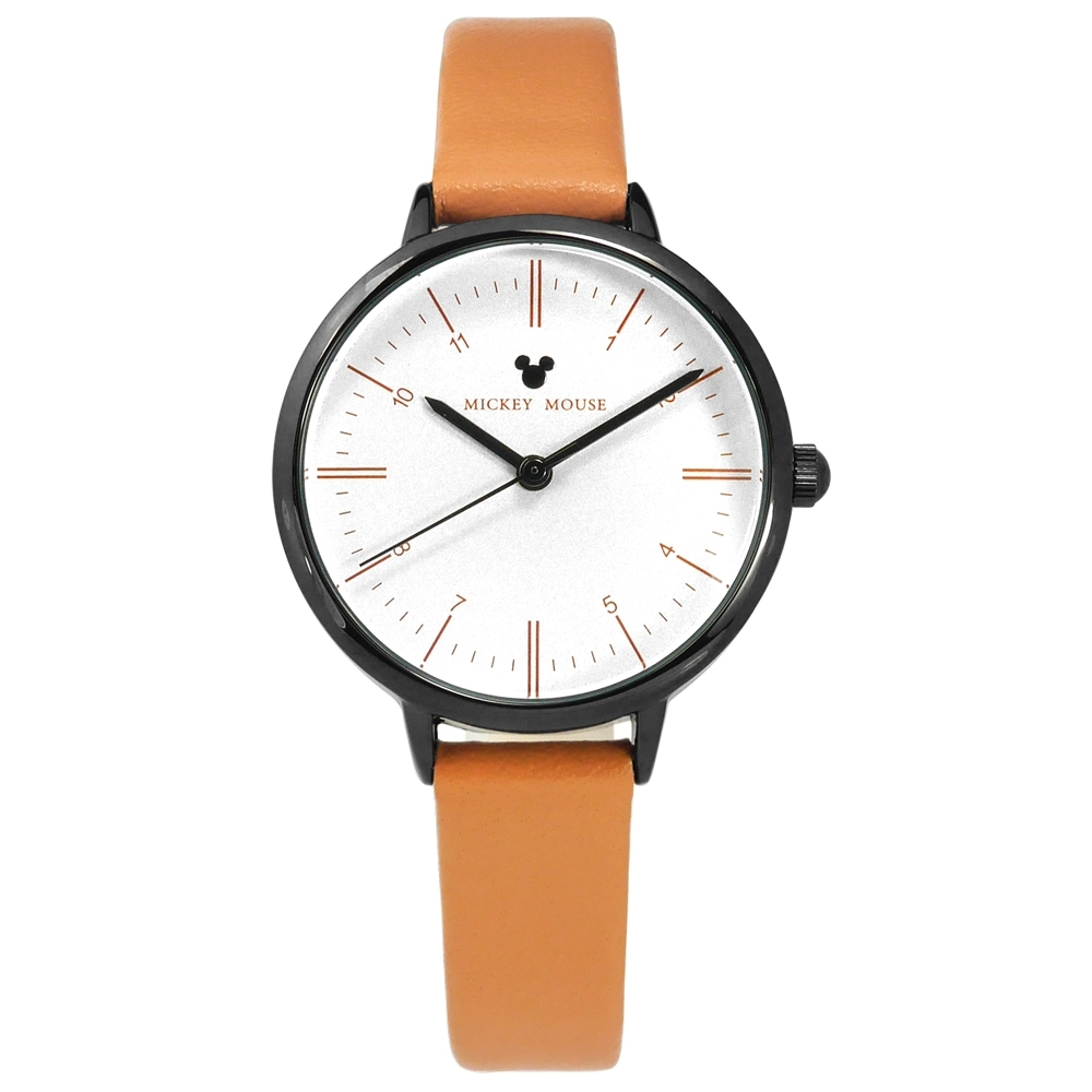 Disney 迪士尼 米奇 米妮 兒童錶 卡通錶 真皮手錶 銀白x黑框x駝 32mm