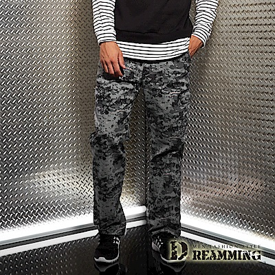 Dreamming 菁英之選戰術迷彩多口袋休閒長褲-灰白