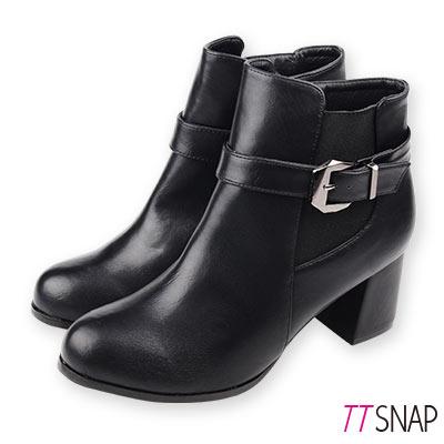 TTSNAP短靴-MIT簡約訂製款保暖刷毛中跟靴 黑