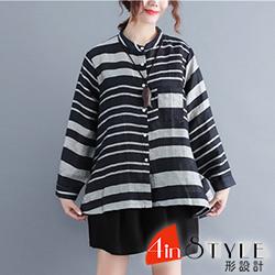 立領傘狀長袖條紋排扣襯衫 (條紋)-4inSTYLE形設計