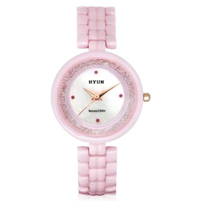 HYUN炫 珍珠母貝陶瓷鑲鑽精品錶-粉
