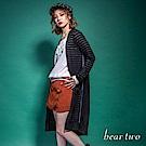 beartwo 條紋簍空長版罩衫外套(黑色)