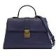 BOTTEGA VENETA 素色羊皮編織寬背帶翻蓋兩用手提包(藍紫) product thumbnail 1