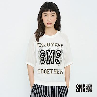 SNS 原味美式絨面字母透膚袖上衣(2色)