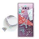 浪漫彩繪 三星 Samsung Galaxy Note9 水鑽空壓氣墊手機殼(巴黎鐵塔)