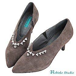 Robinlo 華麗感立體鑽飾羊絨尖頭細跟鞋 灰