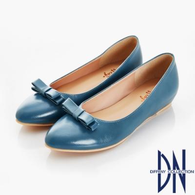DN 夏日漫步 立體蝴蝶結內增高尖頭鞋-藍