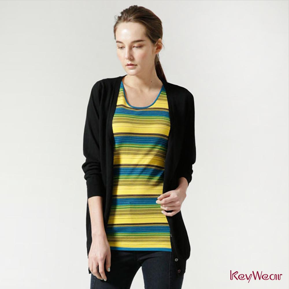 KeyWear奇威名品     精緻蕾絲拼接百搭長袖針織外套-黑色