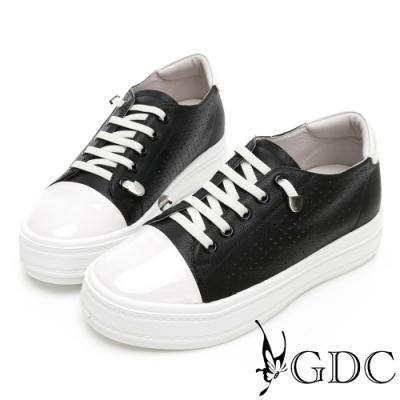 GDC-趣味青春真皮素面基本懶人厚底休閒鞋-黑色