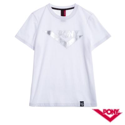 【PONY】純棉LOGO短袖上衣T恤 情人款 男款 女款 白色