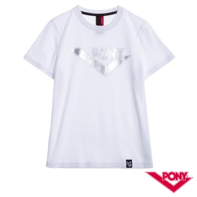 【PONY】純棉LOGO短袖上衣T恤 情人款 男款  白色