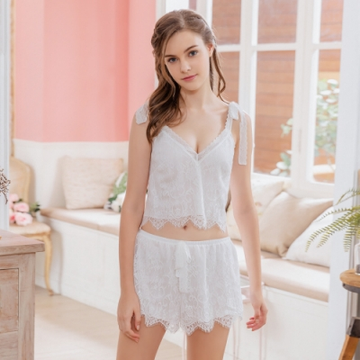 Naya Nina 清純蕾絲雙肩綁帶短版二件式衣短褲居家套裝睡衣-白F