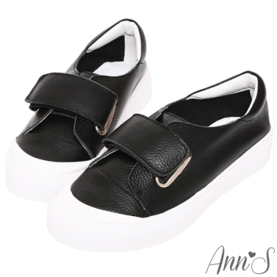 Ann'S餅乾家族-魔鬼氈全真皮小白鞋-黑