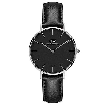 DW手錶 官方旗艦店 32mm銀框 Classic Petite 爵士黑真皮皮革手錶