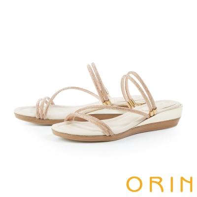 ORIN 水鑽斜邊鑲金厚底 女 拖鞋 粉色