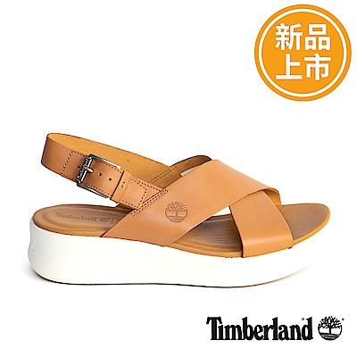 Timberland 女款淺咖啡色皮革露跟涼鞋