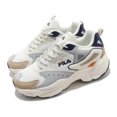 Fila 休閒鞋 J308V 復古 老爹鞋 男鞋 斐樂 厚底 修飾線條 增高 流行款 白 灰 1J308V117