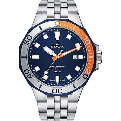 EDOX Delfin 水上冠軍專業300 防水石英錶-藍x銀/43mm
