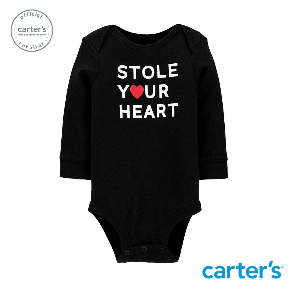 carter's台灣總代理 帥氣英文印圖長袖包屁衣