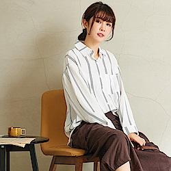 慢 生活 文藝直條長袖襯衫-F 白色