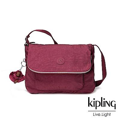 Kipling莓紫素面側背包(中)