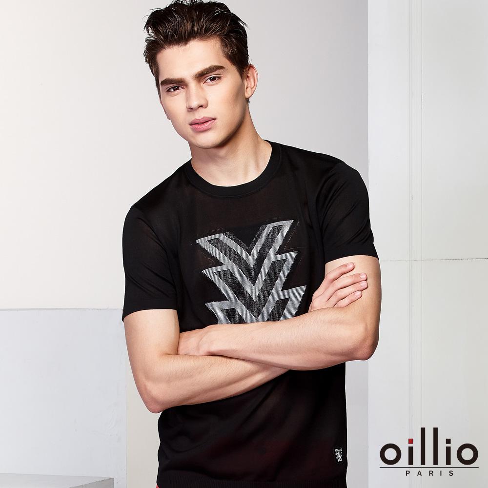 oillio歐洲貴族 短袖圓領符號魅力線衫 質感柔順天絲棉布料 黑色
