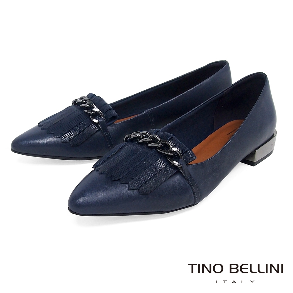 Tino Bellini 巴西進口流蘇鐵鍊好穿平底鞋_藍