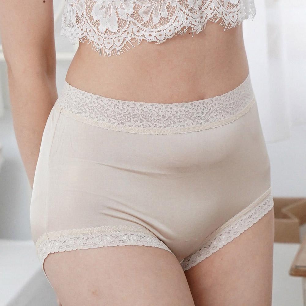 內褲 粉嫩色調100%蠶絲高腰三角內褲 (米白) Chlansilk 闕蘭絹