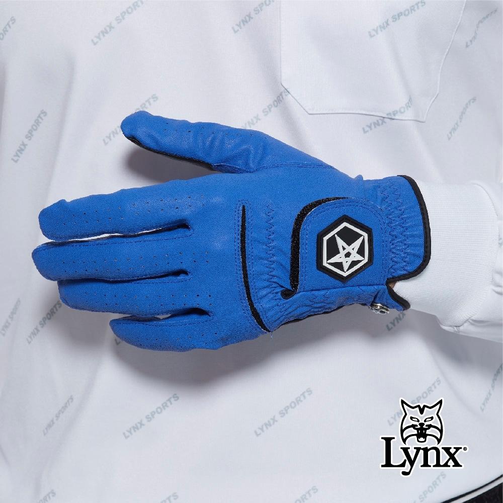 【Lynx Golf】Asher Chuck 多色系列男款防滑彈性高爾夫左手手套-藍色