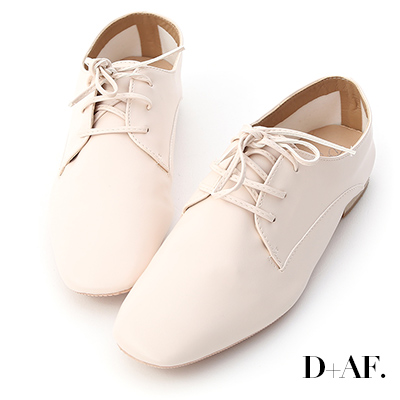 D+AF 紳士品格.超軟皮方頭綁帶牛津鞋*米白