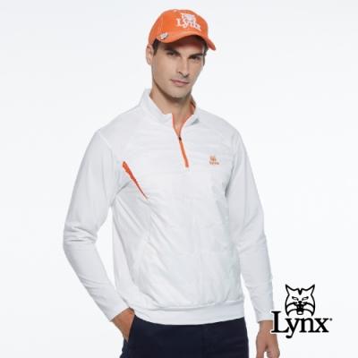 【Lynx Golf】男款遠紅外線保暖刷毛異材質剪接口袋款山貓織標長袖立領POLO衫-牙白色