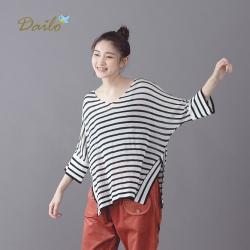 【Dailo】條紋飛鼠袖寬鬆-針織衫(二色)