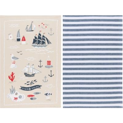 《NOW》餐廚布巾2件(航海風情)