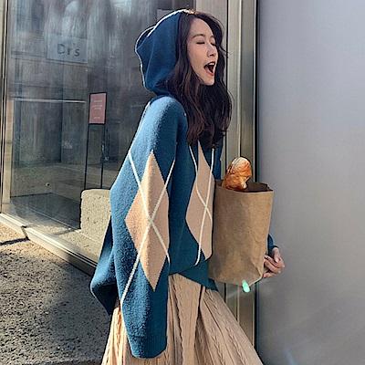La Belleza配色菱格大X連帽厚毛料針織毛衣