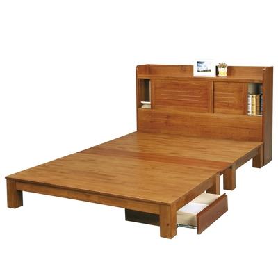 文創集 蒙杜5尺雙人實木床台(床頭箱+床底+收納櫃+不含床墊)-152x218.3x106cm免組