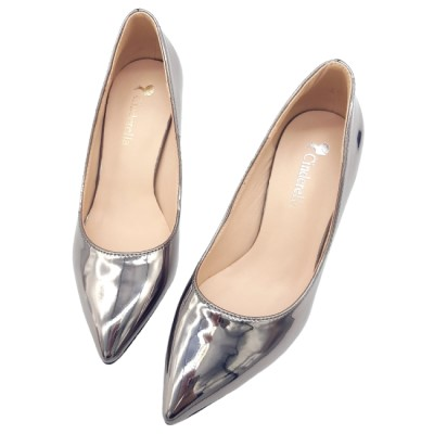 Cinderella Fashions 簡約金屬光素面中跟鞋 - 深灰色