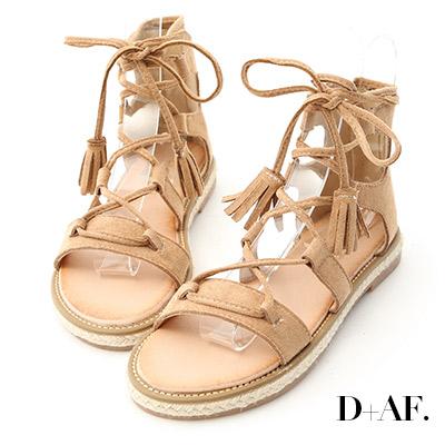 D+AF 波希個性.交叉綁繩草編羅馬涼鞋*杏