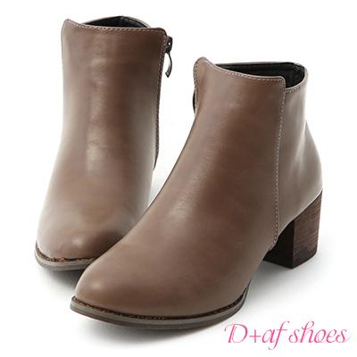 D+AF 人氣話題.素面剪裁中跟短靴*灰棕