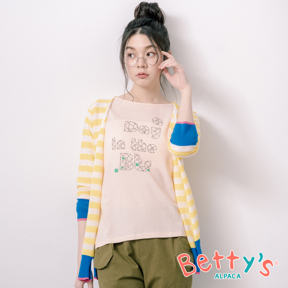betty's貝蒂思 條紋跳色繡西瓜針織罩衫(淺黃) @ Y!購物